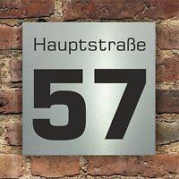 Hausnummer Hausnummernschild im Edelstahl Design mit Wunschnummer 17 x 17 cm (62