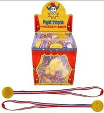 48x Children Gold Plastic Winners Medals,Sports Day,Party Bag,Prize Awards,Toys