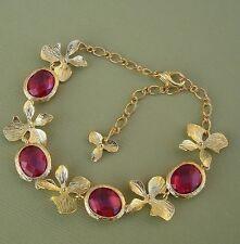 Framed Ruby Color Resin  Gold Orchid Bracelet.