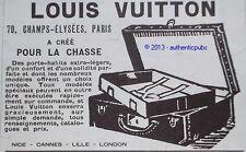 PUBLICITE 1925 LOUIS VUITTON BAGAGE MALLE POUR LA CHASSE FRENCH ORIGINAL AD PUB