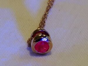 """Ruby 0.31 cts lab created 10K solid Rose Gold gold necklace 0.9 gm 18"""""""