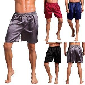 Men's Sleepwear Satin Underwear Plus Boxers Shorts Nightwear Pyjamas Hot Shorts