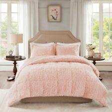 Full/Queen Size Nova Blush Faux Mohair Reverse Mink Comforter Set Fur Brown Pink
