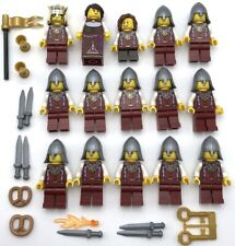 LEGO 15 NEW LION KNIGHT KINGDOMS CASTLE MINIFIGURES WITH KING QUEEN FLAG WEAPONS