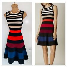KAREN MILLEN Striped Colourful Fit And Flare Knitted Dress Size S/ Uk 8-10