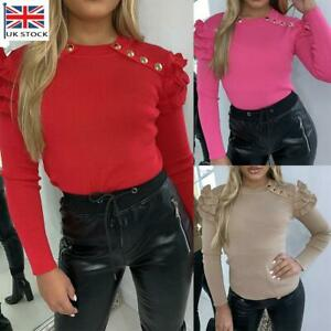 Womens Ladies Ruffle Puff Sleeve T-Shirt Tops Office Knit Slim Fit Casual Blouse