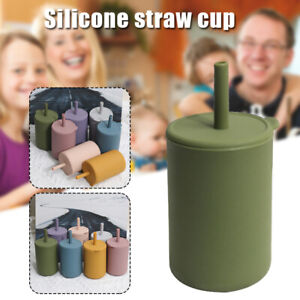 Silicone Training Cup Spill Proof Sippy Cup With Straw Leak Proof Lid For Kid AU