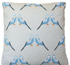 """Blue Birds Cushion Cover Printed Grey Linen Fabric 16"""" Square"""