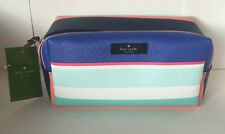 KATE SPADE DAVIE WELLESLEY PRINT TROPICAL STRIPE COSMETICS MAKEUP POUCH CASE $69