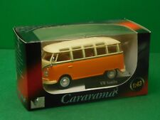 VW Samba T1 Fensterbus orange/weiß Cararama Hongwell 1:43 OVP Modellauto NEU