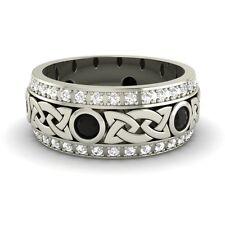 Certified 1.18 Cts Black & G/SI Diamond 14k Gold Celtic Men's Wedding Band Ring