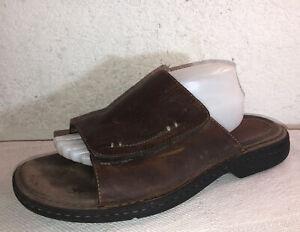 Clarks Men Sz 13M Brown Leather Slides Sandals Shoes Flip Flops