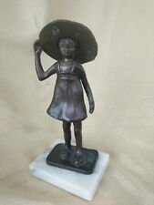 Bronze Girl With Sunhat Sculpture signed S. Fries