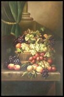 "36""x24"" Oil Painting on Canvas, Still Life with Fruit, Genuine Hand Painted"