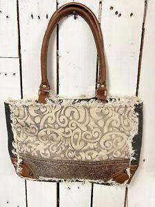 Myra Bags Womens Leaf Print Upcycled Canvas Hairon Small Bag
