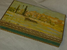 Chic Vintage Toleware Florentine Pin Glove BOX Gold Gilt HOLLYWOOD REGENCY Japan