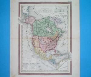 1869 ORIGINAL MAP UNITED STATES TEXAS CALIFORNIA NEW YORK FLORIDA CANADA CUBA