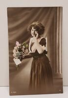 RPPC Art Nouveau Pretty Female Model Hand Tinted Photo 1912 Postcard C4