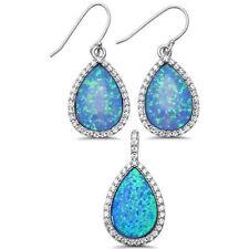 Pear Shaped Blue Opal & CZ .925 Sterling Silver Pendant & Earring Set