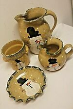 THREE RIVERS Pottery SNOWMAN Sm Lrg Pitcher with Crimped Under Plate Saucer MORE