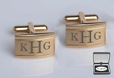 ENGRAVED GOLD TWO TONE STAINLESS STEEL CUFFLINKS CUSTOM PERSONALIZED CUFF LINKS