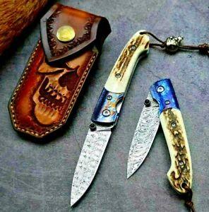 Drop Point Folding Knife Pocket Hunting Wild Swiss Powder Damascus Steel Antlers