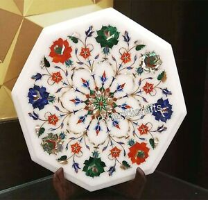 14 Inches Multi Gemstones Inlaid Coffee Table Top Octagon Marble Corner Table