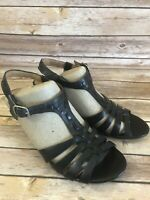 Clarks T-Strap Heels Sandals Size 7.5 M Womens Black Ankle Strap Leather Shoes