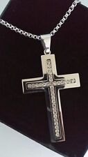 "Mens Personalised Large Silver CZ Cross Necklace Free Engraving 18 - 30"" Gift"