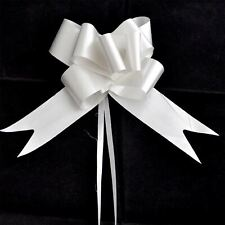 60 x 50mm Large Pull Bows Silver Satin Ribbons Wedding Gifts Wrap Car Decoration
