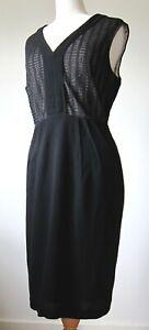 JACQUI-E Dress, Black with Lace Bodice, Size 14