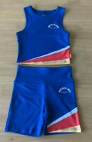 Girls size 12  MOSSIMO blue summer sleeveless tank top & Shorts stretch  NEW