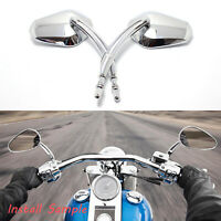 For Harley-Davidson Dyna Super Glide EFI FXDI Chrome Motorcycle Rearview Mirrors
