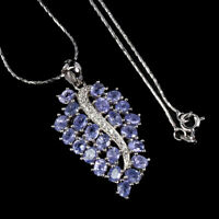 Unheated Oval Tanzanite 4x3mm Cz White Gold Plate 925 Sterling Silver Necklace