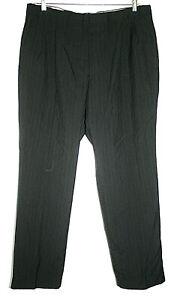Barrington Mens 40 x 31.5 Black Pinstriped Slacks Pleated Front Wool Blend