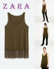 ZARA Contrasting Tulle Khaki T-Shirt Sleeveless Long Top New (RT$24) Size M