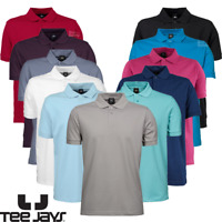 TEE JAYS MEN'S STRETCH POLO SHIRT PREMIUM TAILORED FIT PLAIN SMART CASUAL STYLE