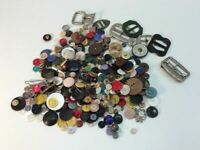 Vintage Buttons Lot Of 1 Lb Of Assorted Buttons Buckles Many Shapes & Sizes G9