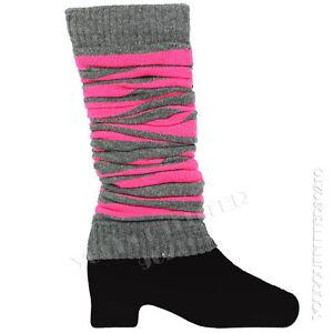 Women Leg Warmer Socks Pair Stripes Design Winter Fashion Warm Knee High Gift