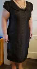 Beautiful Laura Ashley Occasion Dress Bow Collar Black And Gold Size 18/44 BNWT