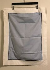 Pottery Barn Standard Pillow Sham Chambray Blue White Embroidered NWOT