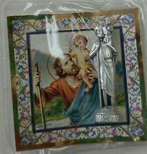 "SAINT CHRISTOPHER CATHOLIC POCKET STATUE & 3"" X 3"" GOLD STAMPED HOLY CARD PRAYER"