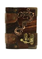 Handmade Genuine Leather Journal Diary Notebook Sketchbook Brown Chinese Dragon