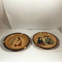"""Pair of PENNSBURY POTTERY Amish Hand Painted 5"""" Ashtrays"""