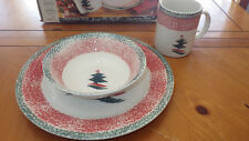 Christmas Star Christmas Dinnerware Set by Gibson New in Box Service 4 12pcs