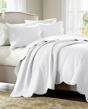 Perfect WHITE MATELASSE 3pc Full Queen COVERLET SET : FRENCH COTTAGE QUILT TILE  BEDDING