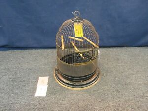 Antique Metal Hanging Bird Cage c.1939 Original Perches Feeder Decor Dome