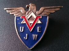 Rare US Sterling Silver Enamel Victory Pin UJWE Broadcast Specialty Corp Pin