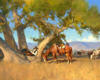 Cowboy resting under the tree Oil Painting Giclee Art Printed on canvas L2023