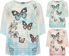 Plus Womens Baggy Mesh Lined Top Ladies Floral Butterfly Print Short Sleeve New